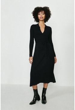Black Knitted Collar Dress