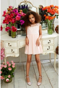 Blush Girls Embroidered Bridesmaids Dress