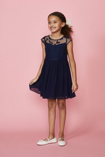 Navy Girls Embroidered Bridesmaids Dress