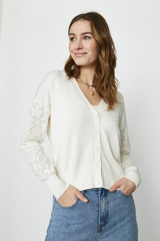 Ivory Lace Sleeve Knitted Cardigan