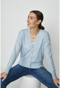 Pale blue Lace Sleeve Knitted Cardigan