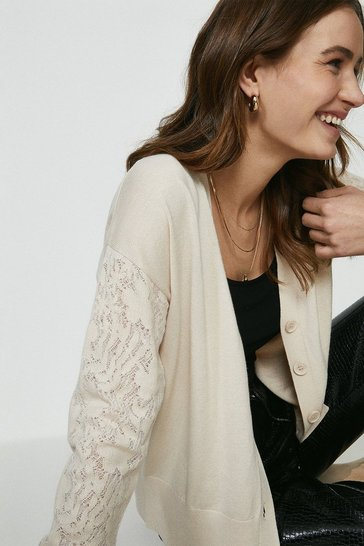 Pale pink Lace Sleeve Knitted Cardigan