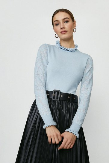 Pale blue Lace Sleeve Pie Crust Neck Knitted Jumper