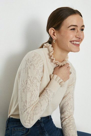 Pale pink Lace Sleeve Pie Crust Neck Knitted Jumper