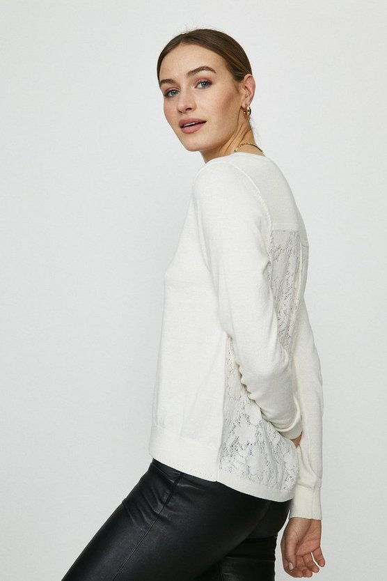 Ivory Lace Back Knitted Tunic Jumper
