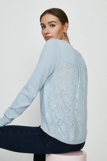 Pale blue Lace Back Knitted Tunic Jumper