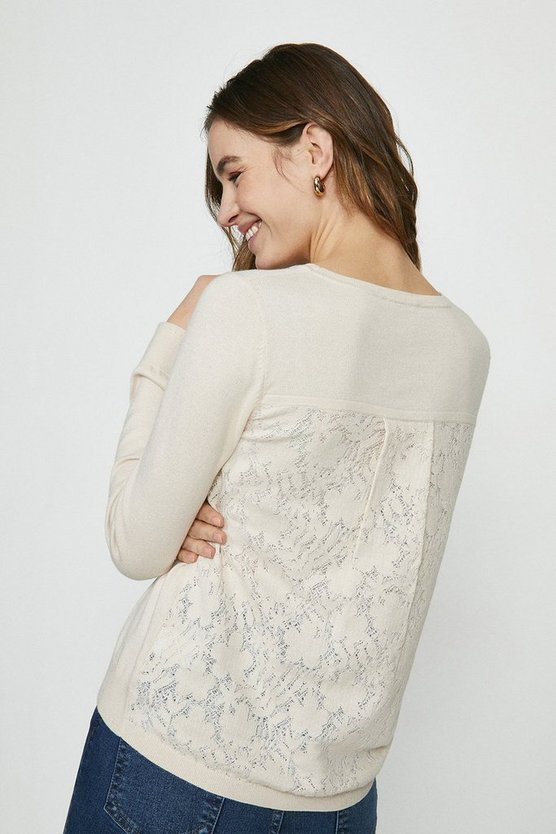 Pale pink Lace Back Knitted Tunic Jumper