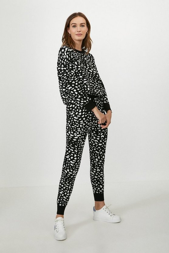 Black Animal Print Jogger And Sweat Lounge Set