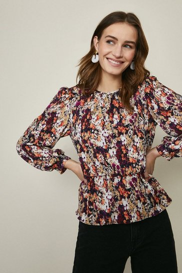 Multi Plisse Puff Sleeve Peplum Top