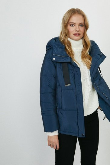 Mid wash Contrast Tape Hooded Jacket