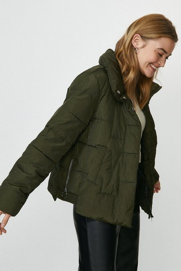 Dark green Short Puffer Jacket