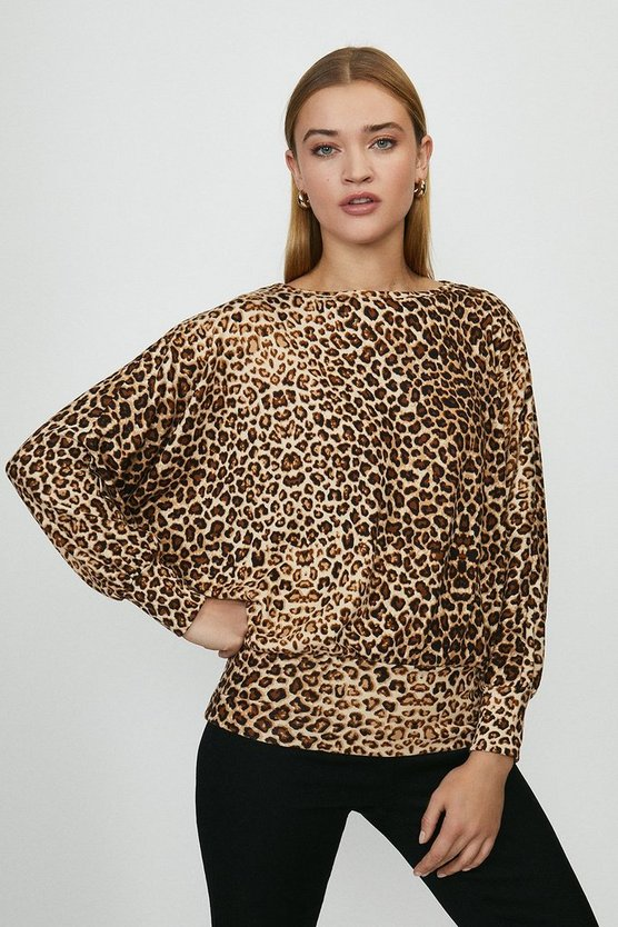 Grey Animal Print Batwing Jersey Top