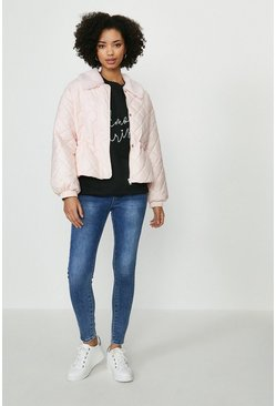 Pink Diamond Quilted Coat With Fur Trim