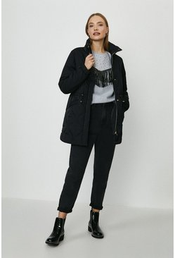 Black Diamond Quilted Longerline Coat