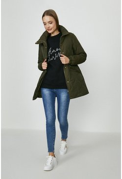 Khaki Diamond Quilted Longerline Coat