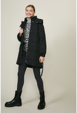 Black Quilted Longline Coat With Hood