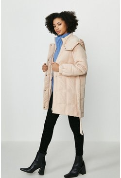Blush Quilted Longline Coat With Hood