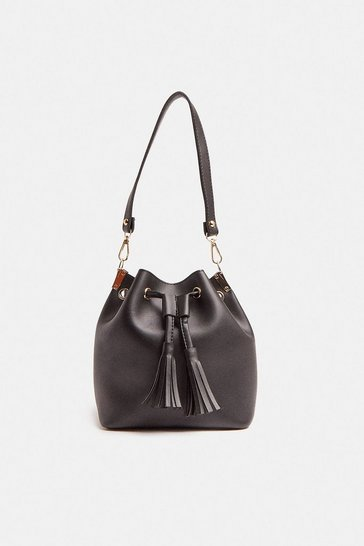 Black Tassel Detail Cross Body Bag