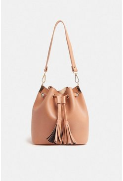 Nude Tassel Detail Cross Body Bag