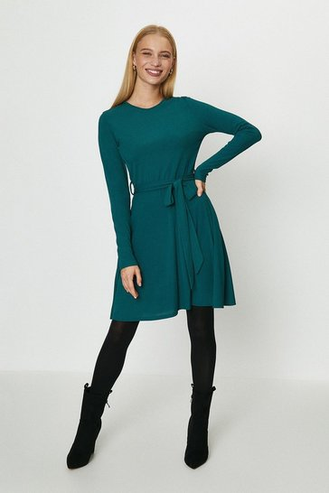 Forest Ribbed Belted Fit And Flare Dress