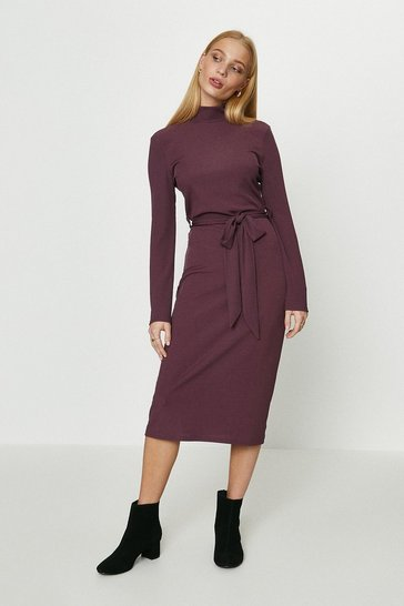 Fig Ribbed Belted Midi Dress