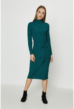 Forest Ribbed Belted Midi Dress