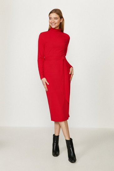 Red Ribbed Belted Midi Dress