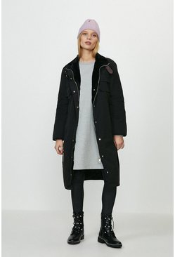 Black Faux Fur Lined Coat