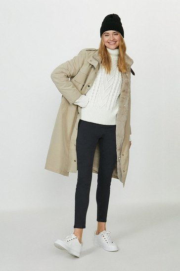 Stone Faux Fur Lined Coat