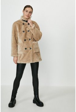 Camel Button Detail Teddy Coat
