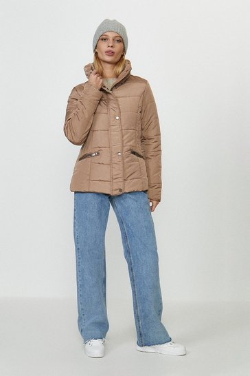 Mocha Funnel Neck Quilted Jacket