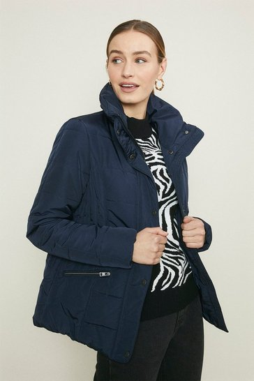 Navy Funnel Neck Quilted Jacket