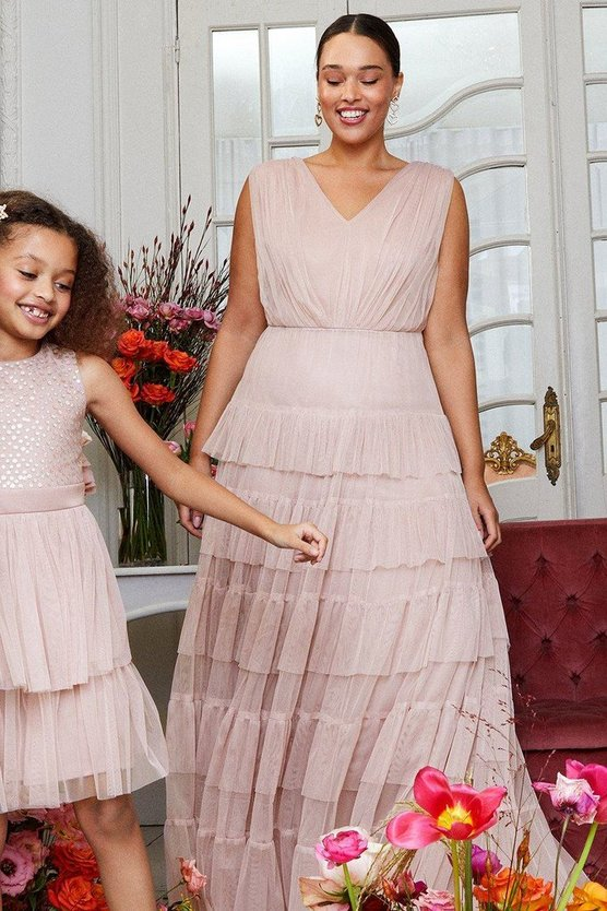 Blush Curve Tulle Tiered Maxi Dress