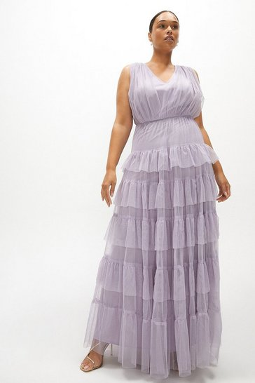 Lilac Curve Tulle Tiered Maxi Dress