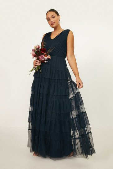 Navy Curve Tulle Tiered Maxi Dress