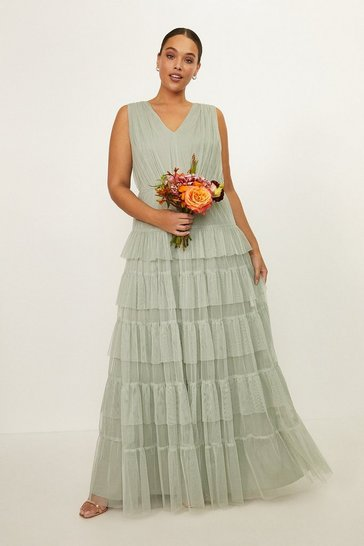 Sage Curve Tulle Tiered Maxi Dress