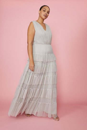 Silver Curve Tulle Tiered Maxi Dress