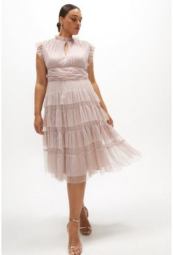 Blush Curve Tulle Tiered Frill Sleeve Dress