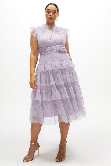 Lilac Curve Tulle Tiered Frill Sleeve Dress