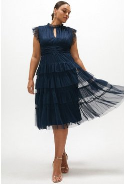 Navy Curve Tulle Tiered Frill Sleeve Dress