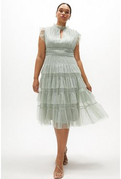 Sage Curve Tulle Tiered Frill Sleeve Dress
