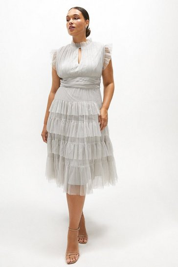 Silver Curve Tulle Tiered Frill Sleeve Dress