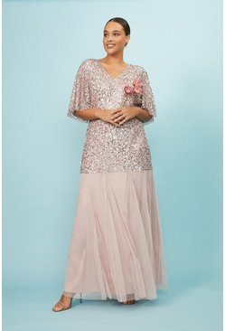 Blush Curve Sequin Angel Sleeve Maxi Dress