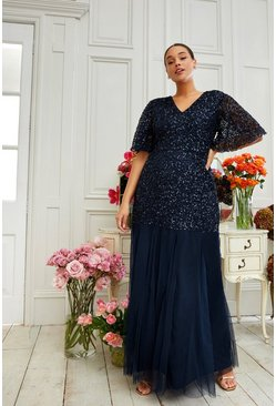 Navy Curve Sequin Angel Sleeve Maxi Dress