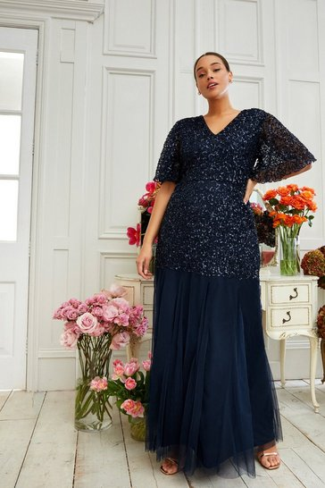 Navy Curve Angel Sleeve Sequin Maxi Dress