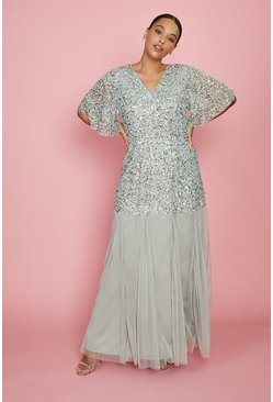 Sage Curve Sequin Angel Sleeve Maxi Dress