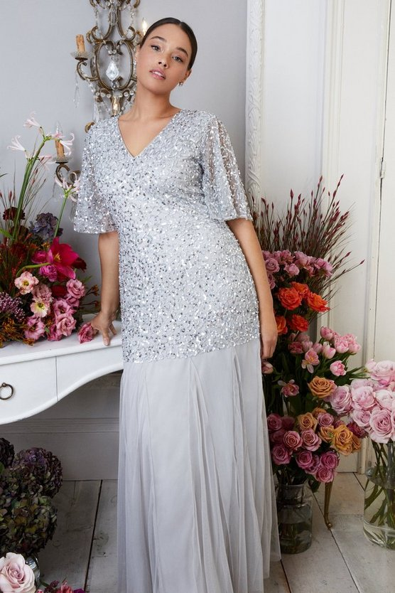 Silver Curve Sequin Angel Sleeve Maxi Dress