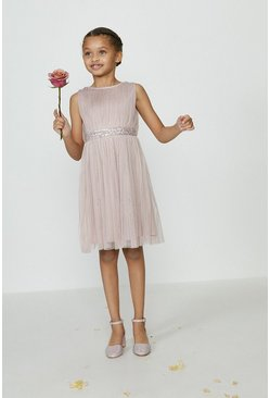Blush Girls Sequin Waist Bridesmaids Dress