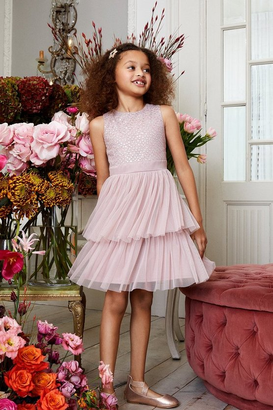 Blush Girls Tiered Mesh Bridesmaids Dress