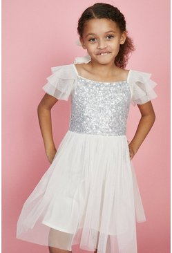 Ivory Girls Angel Sleeve Bridesmaids Dress